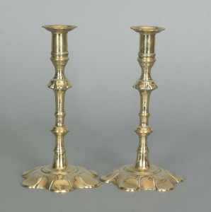 Pair of English Queen Anne brass petal base candle