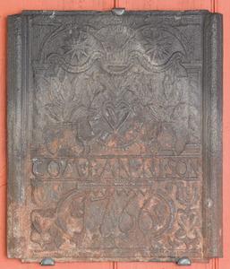 H. Wilhelm Stiegel cast iron stove front plate dat