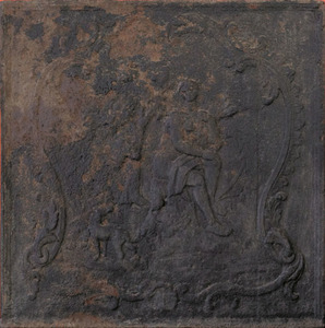 Cast iron stove plate, mid 18th c., depicting a hu