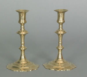Pair of English Queen Anne brass candlesticks, ca.