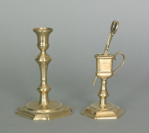 English Queen Anne brass snuffer and stand, ca. 17