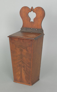 English mahogany hanging pipe box, ca. 1800, withi