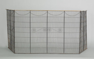 Georgian brass and wire folding firescreen, late 1