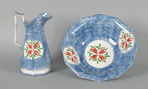 Blue spatter pitcher and basin, 19th c., with four