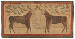 Vibrant American folk art hooked rug, 19th c., dep