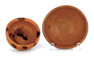 Two miniature Pennsylvania redware bowls, 19th c.,