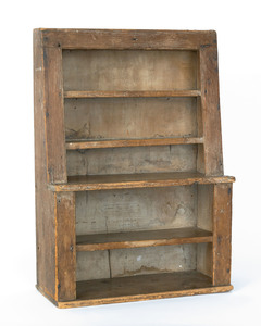 Miniature pine stepback cupboard, 19th c., with aa