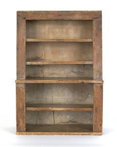 Miniature pine stepback cupboard, 19th c., with aa