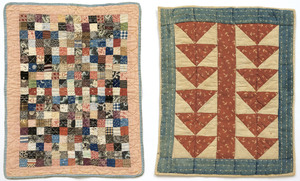 Two pieced doll quilts, early 20th c., one postage