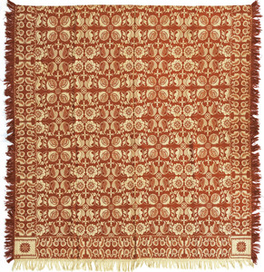 Red and white jacquard coverlet, ca. 1840, with fl