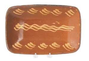Pennsylvania redware loaf dish, 19th c., with yell