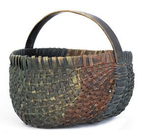 American split oak gathering basket, 19th c., reta