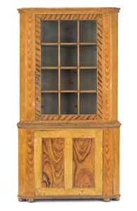 Pennsylvania painted pine corner cupboard in two p