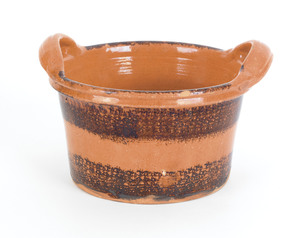 Pennsylvania redware two-handled tub, 19th c., wit