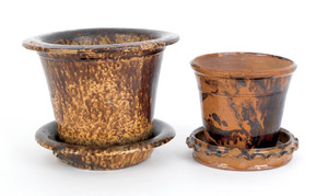 Redware flower pot and undertray, 19th c., with Ro