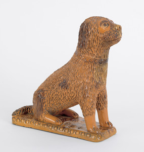 Large Pennsylvania redware dog, 19th c., seated at