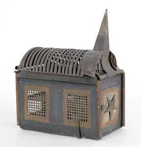 Painted tin church form squirrel cage, late 19th c