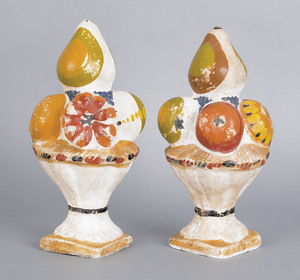 Pair of painted chalkware fruit baskets, 19th c.,1
