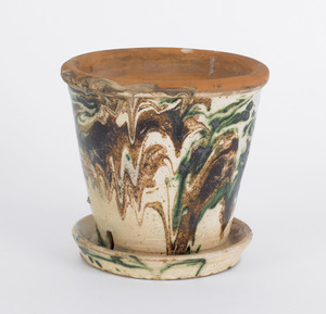 Shenandoah Valley redware flower pot, 19th c., wit