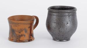 Pennsylvania redware child's mug, 19th c., 2 1/4