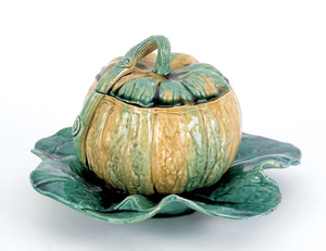 Staffordshire pumpkin form lidded canister, early9