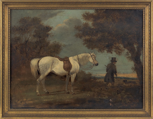 English oil on panel, 18th c., of a hunter and his