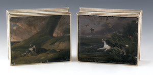 Rare pair of English silver dresser boxes, 1785-17