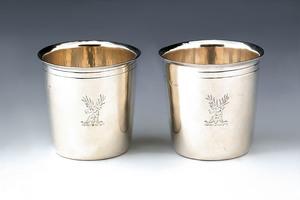 Pair of English silver julep cups, 1803-1804, bear