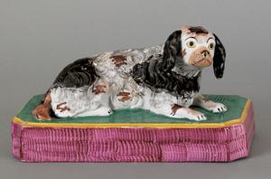 English Staffordshire pearlware figure of a spanie