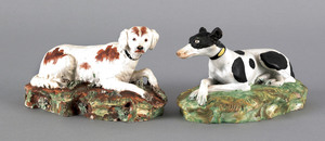 Pair of Staffordshire pearlware hounds, early 19th