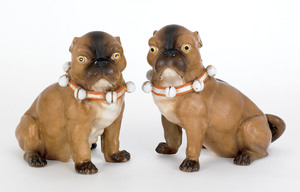 Pair of Conte & Boehme porcelain pugs, 19th c., 7/