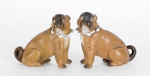 Pair of Conte & Boehme porcelain pugs, 19th c., 4