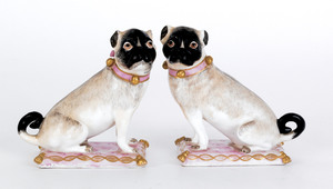 Pair of Meissen type porcelain pugs, 19th c., 4 1/