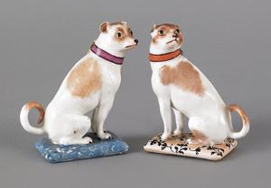 Pair of Meissen porcelain dogs, 19th c., 4 1/4