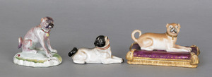 Three porcelain pug figures, 19th c., largest - 4
