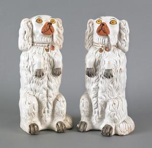 Pair of Staffordshire spaniels, 19th c., each stan
