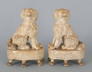 Pair of salt glaze stoneware spaniels, 19th c., ea