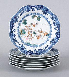 Set of seven Chinese export porcelain plates, 18th