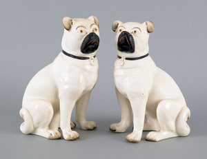 Pair of Staffordshire pugs, late 19th c., 10 1/2