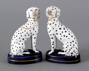 Pair of Staffordshire pearlware dalmations, 5