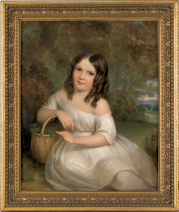 American oil on canvas portrait, mid 19th c., of a