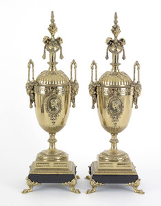 Pair of neo-classical brass and slate urns, 20th c