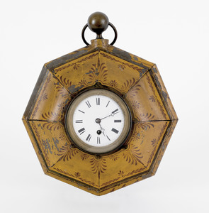 French tole peinte gallery clock, 19th c., the wor