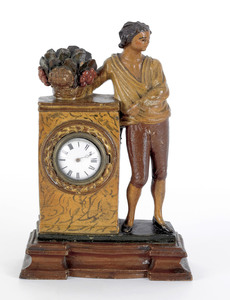 Carved and polychrome decorated pine watch hutch,a