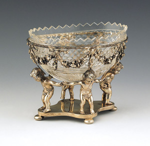 German silver and cut glass nut dish, 19th c., wit