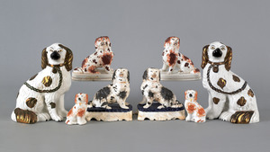 Four pairs of Staffordshire spaniels, 19th c., 9 1
