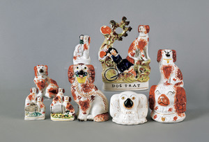 Collection of Staffordshire spaniels, 19th c., tal
