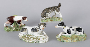Four Staffordshire pearlware hounds, early 19th c.