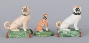 Pair of Staffordshire pearlware pugs, early 19th c