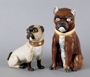 Two large French porcelain pugs, ca. 1900, 12